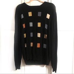 Tundra Black Sweater with Square Print, Medium